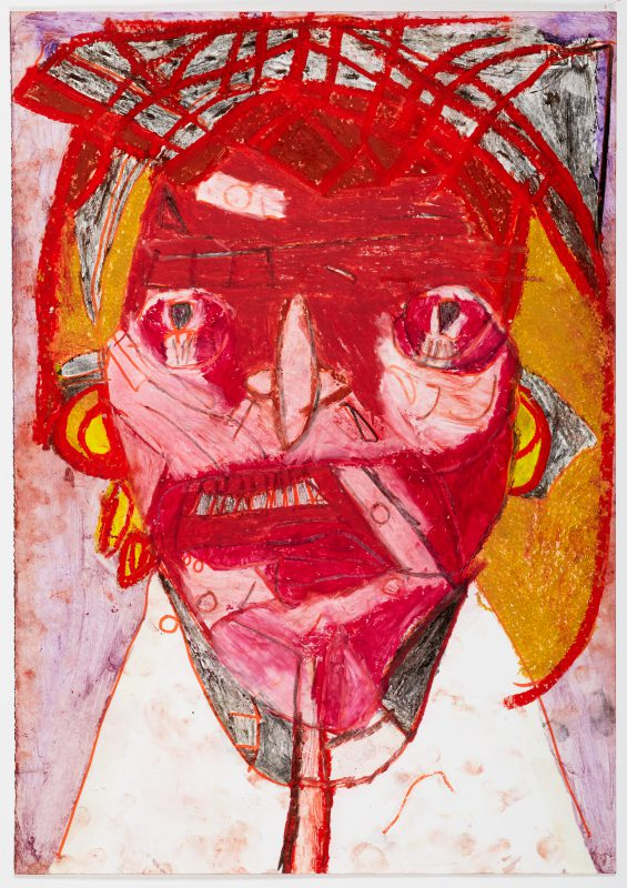 Clifton Wright, Self-portrait from Mirror, 2018, Oil pastel, pencil and pen on paper, 50 x 35cm